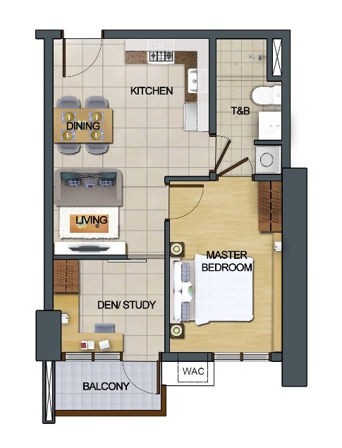 East Bay Residences - 1 Bedroom with Den and Balcony
