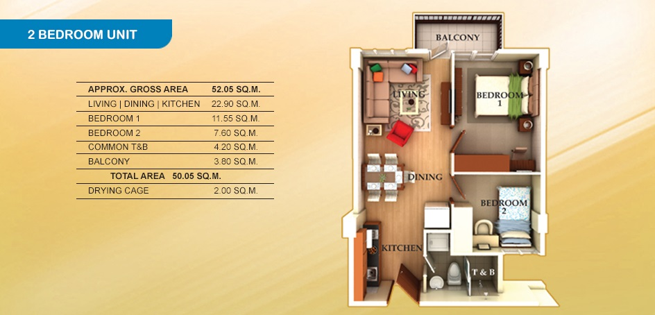 Lancris Residences - 2 Bedroom Unit