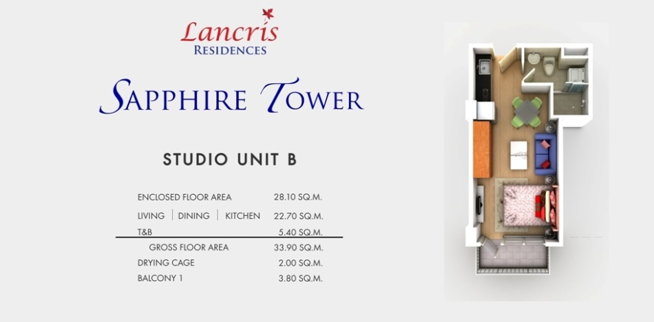 Lancris Residences - Studio Unit B