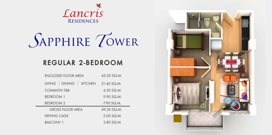 Lancris Residences - 2 BR Unit