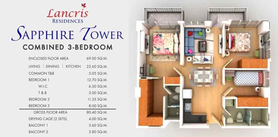 Lancris Residences - 3-Bedroom Unit