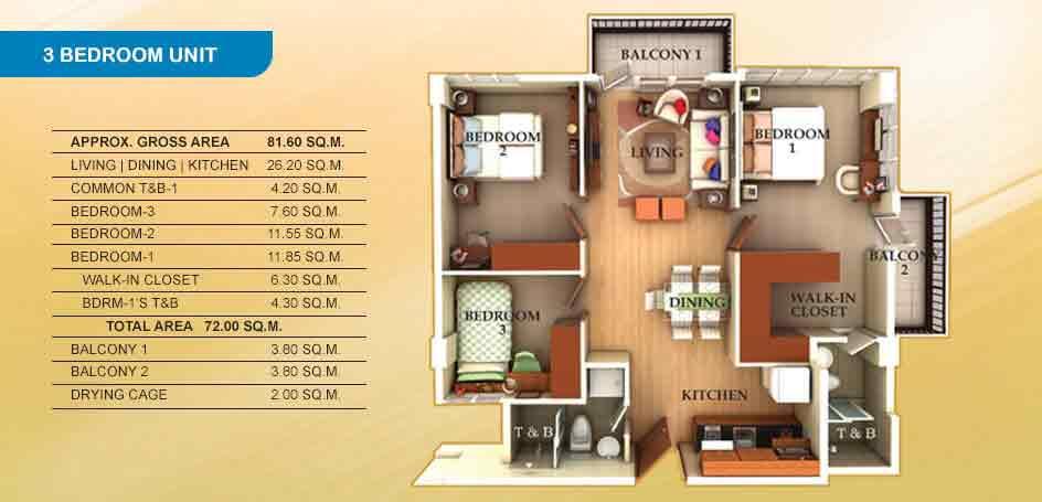 Lancris Residences - 3 Bedrooms Unit