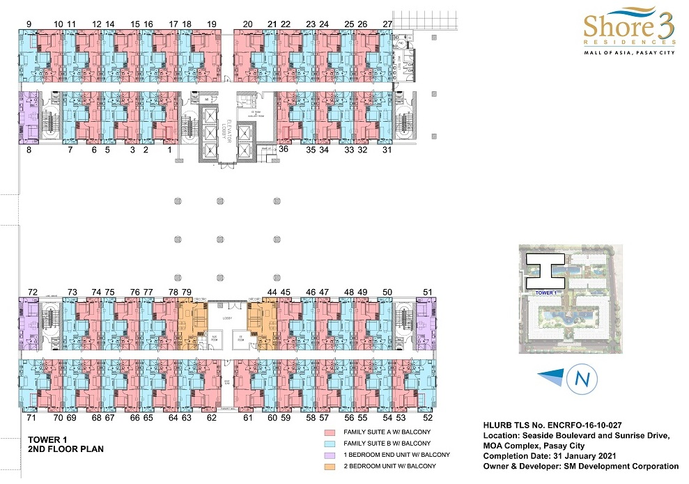 Shore 3 Residences - Tower 1 - 2nd Floor Plan