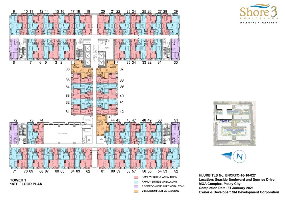 Shore 3 Residences - Tower 1 - 18th Floor Plan
