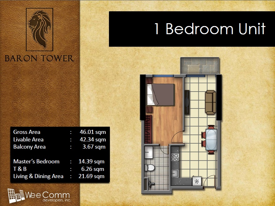 Baron Tower - 1 Bedroom Unit