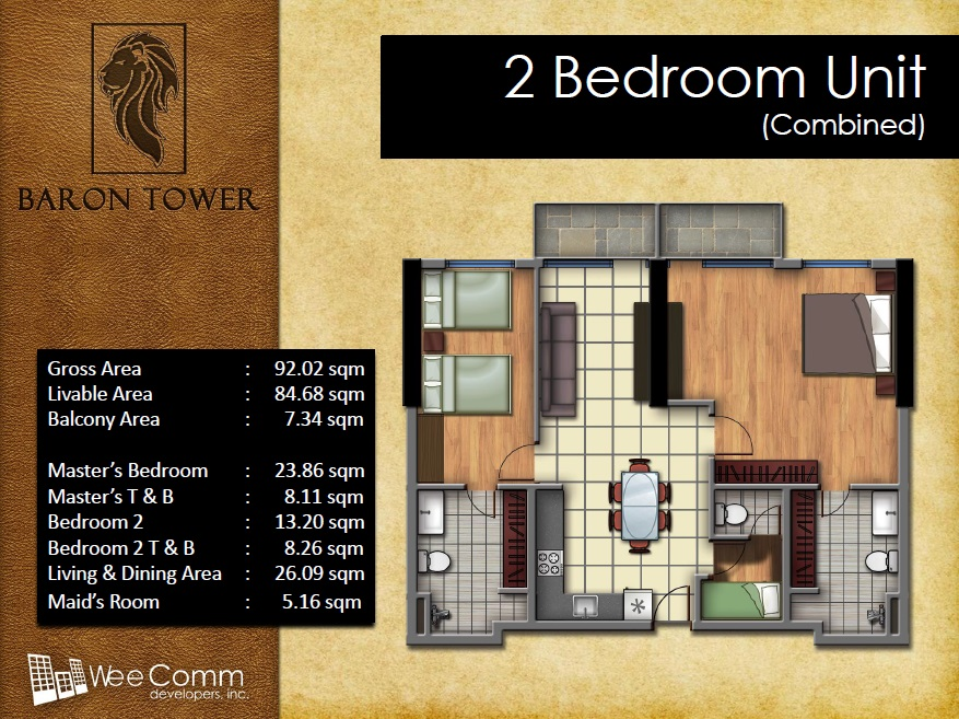 Baron Tower - 2 Bedroom Unit - Combined