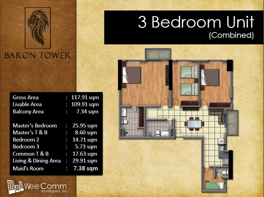 Baron Tower - 3 Bedroom Unit - Combined