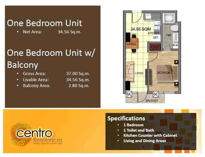 Centro Residences - One Bedroom Unit