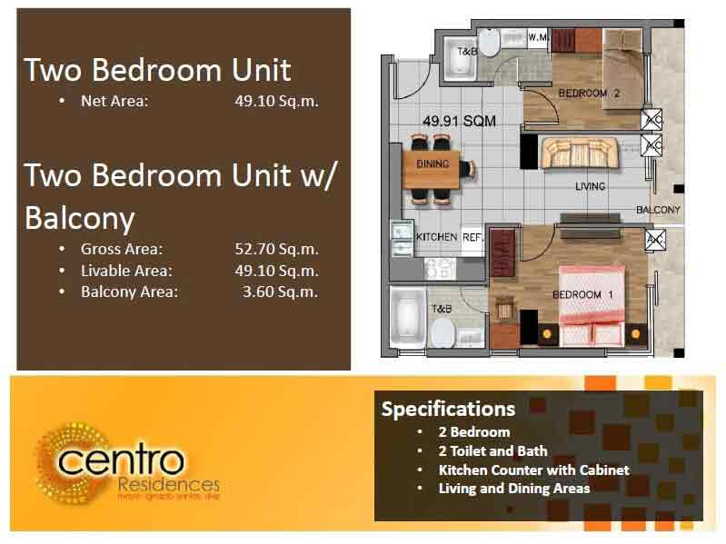 Centro Residences - Two Bedroom Unit