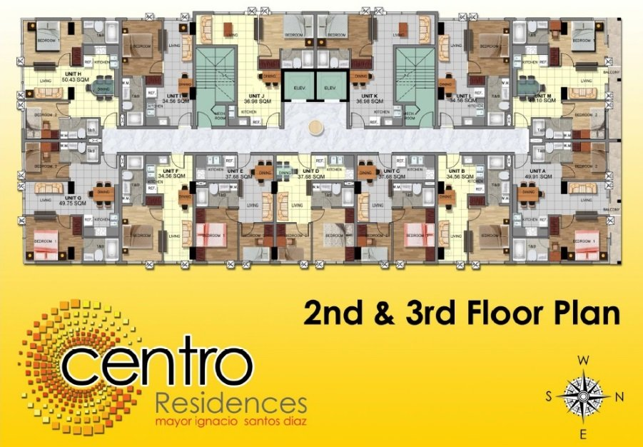 Centro Residences - 2nd and 3rd Floor Plan