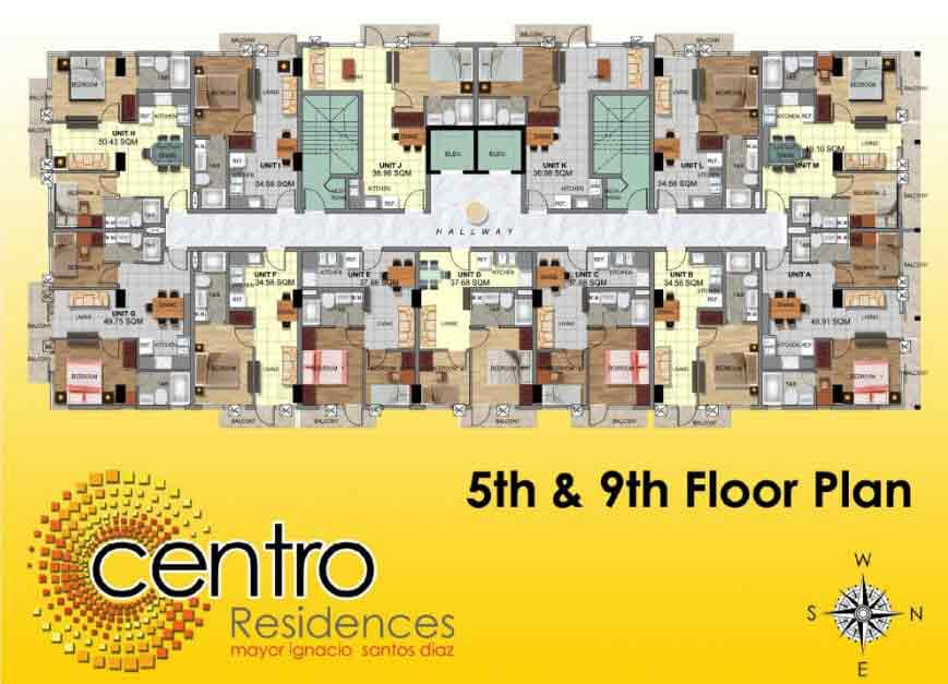 Centro Residences - 5th and 9th Floor Plan