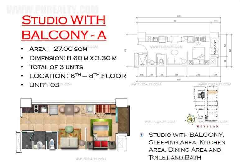 West Avenue Residences - Studio with Balcony A