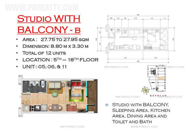 West Avenue Residences - Studio Unit with Balcony B