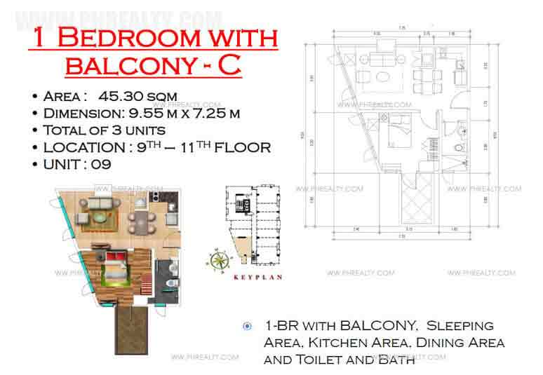 West Avenue Residences - 1 Bedroom with Balcony C