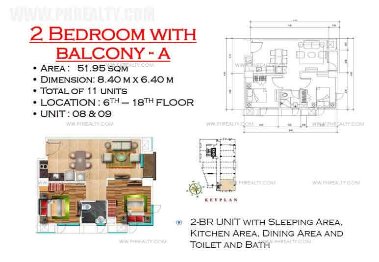 West Avenue Residences - 2 Bedroom with Balcony A
