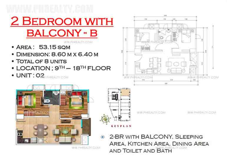 West Avenue Residences - 2 Bedroom with Balcony B