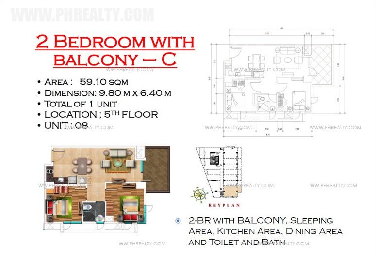 West Avenue Residences - 2Bedroom with Balcony C