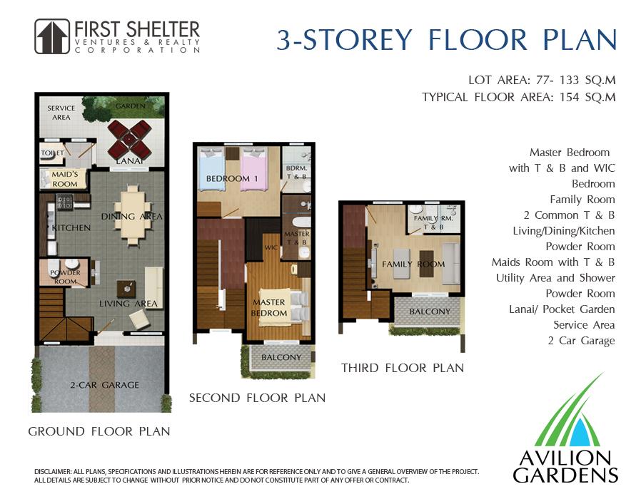 Avillon Garden - 3 Storey Floor Plan