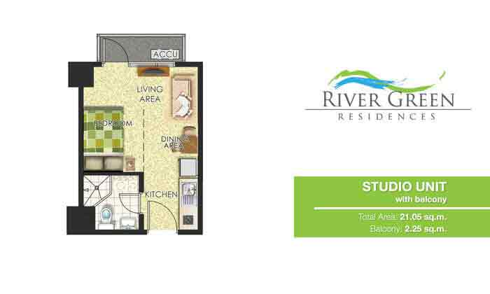 River Green Residences - Studio Unit with Balcony