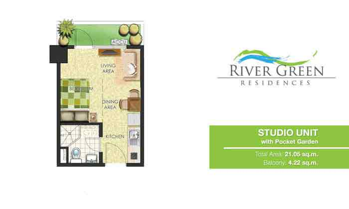 River Green Residences - Studio Unit with Pocket Garden