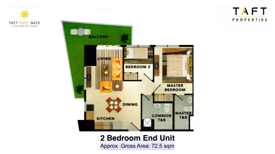 Taft East Gate - 2 Bedroom End Unit