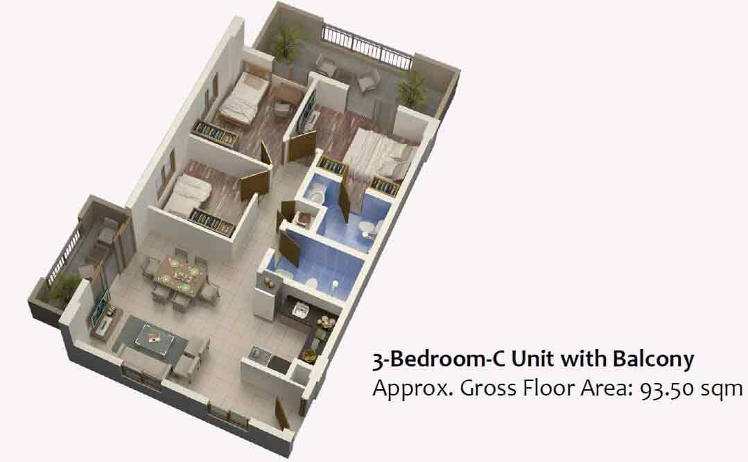 Mulberry Place - 3 Bedroom C Unit with Balcony