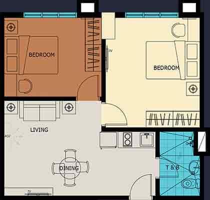 Vista Suarez Cebu - 2 Bedroom Unit Plan