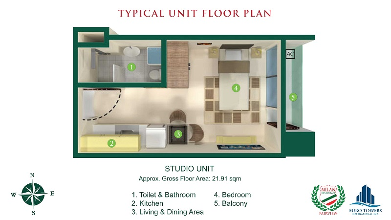 Milan Residenze Fairview - Studio Unit