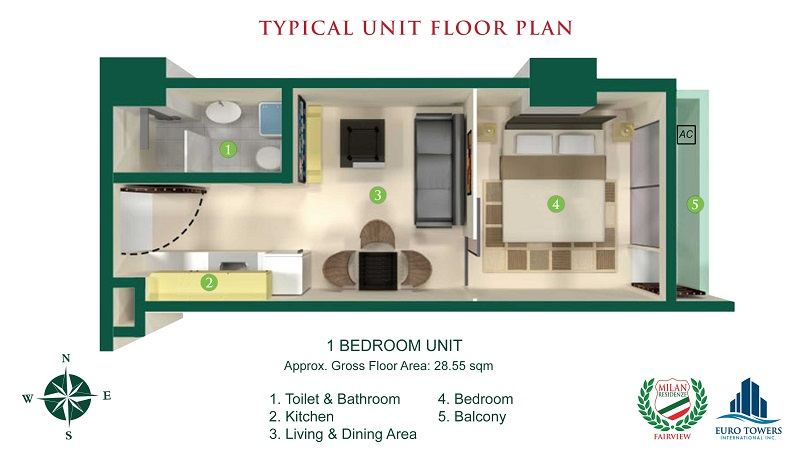 Milan Residenze Fairview - One Bedroom Unit