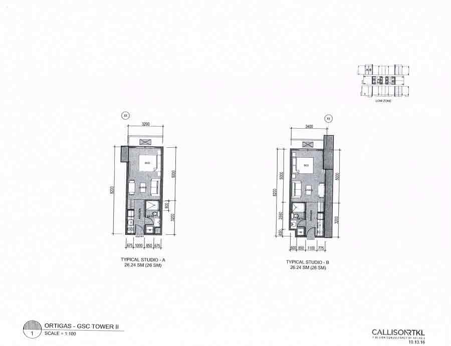 The Connor At Greenhills - Studio Layout - GSC Tower II