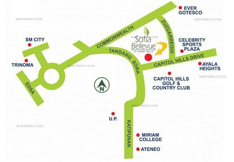 Sofia Bellevue - Location Map
