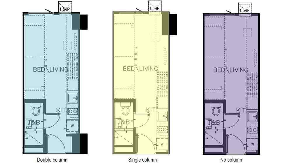Green 2 residences preselling condominium for sale in for Studio type condo floor plan