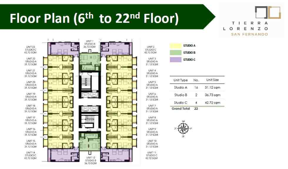 Tierra Lorenzo San Fernando - Floor Plan (6th - 22nd Floor)