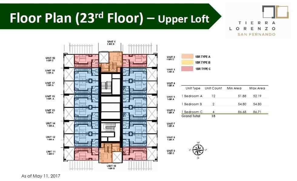 Tierra Lorenzo San Fernando - Floor Plan (23rd Floor) - Upper Loft