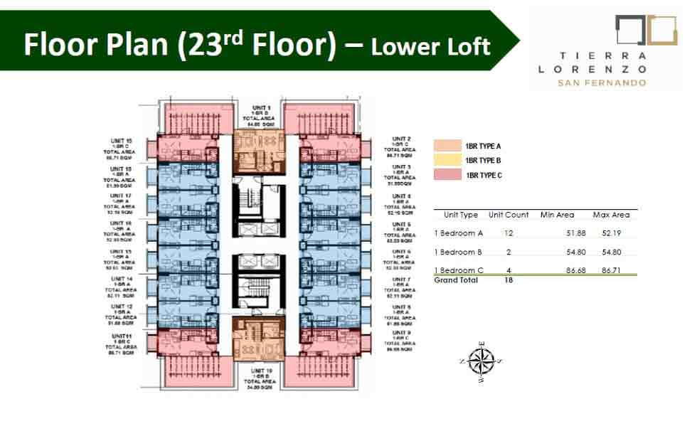 Tierra Lorenzo San Fernando - Floor Plan (23rd Floor) - Lower Loft