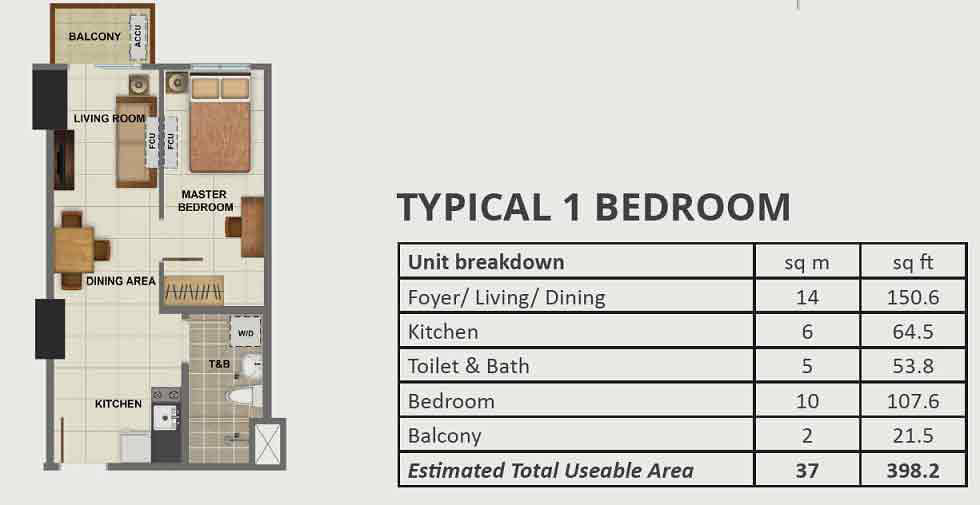 Avida Towers Vireo - 1 Bedroom Unit