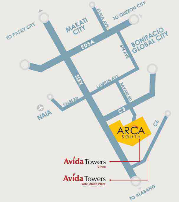 Avida Towers Vireo - Location MAp