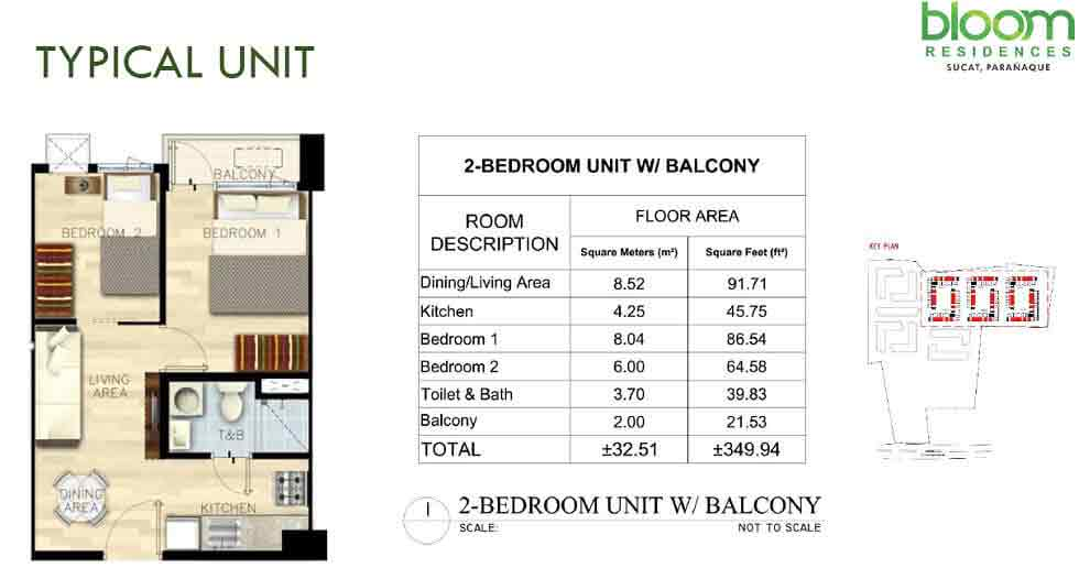 Bloom Residences - 2 Bedroom End Unit with Balcony