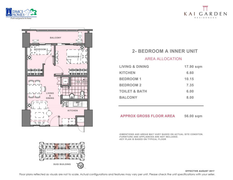 Kai Garden Residences - 2 - Bedroom A ( Inner Unit )