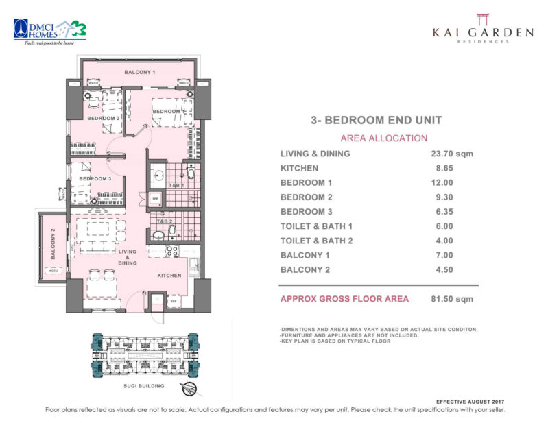 Kai Garden Residences - 3 - Bedroom ( End Unit )