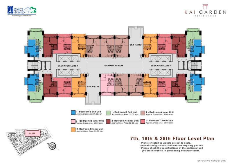 Kai Garden Residences - 7th, 18th, & 28th Floor Plan