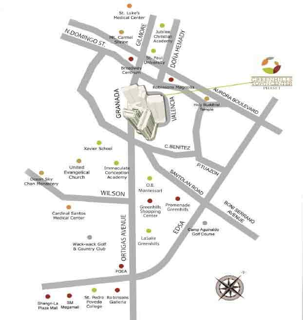 Greenhills Town Center - Location Map