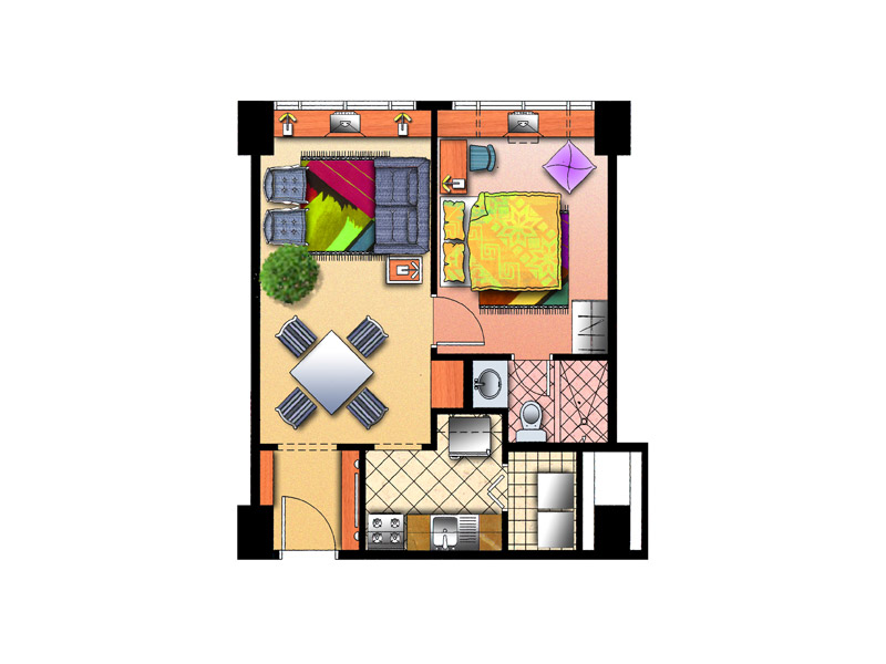 Forbeswood Parklane - Typical 1 BR Floor Plan