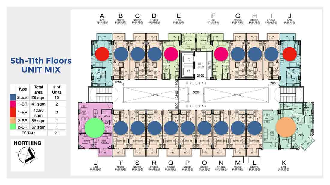 Chelsea Parkplace - 5th - 11th Floors Unit Mix