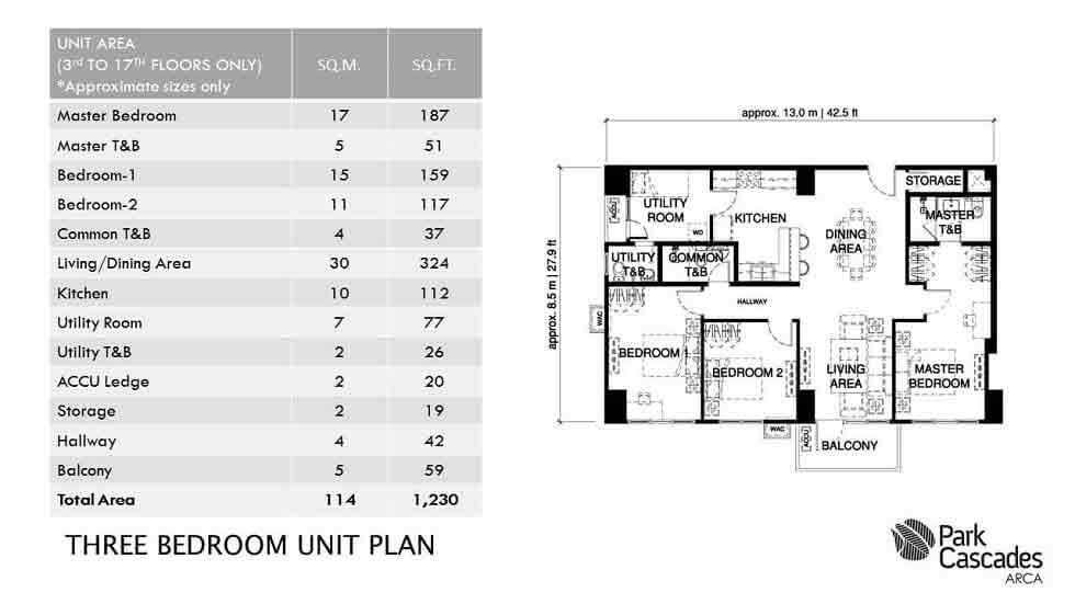 Park Cascades - Three Bedroom Unit