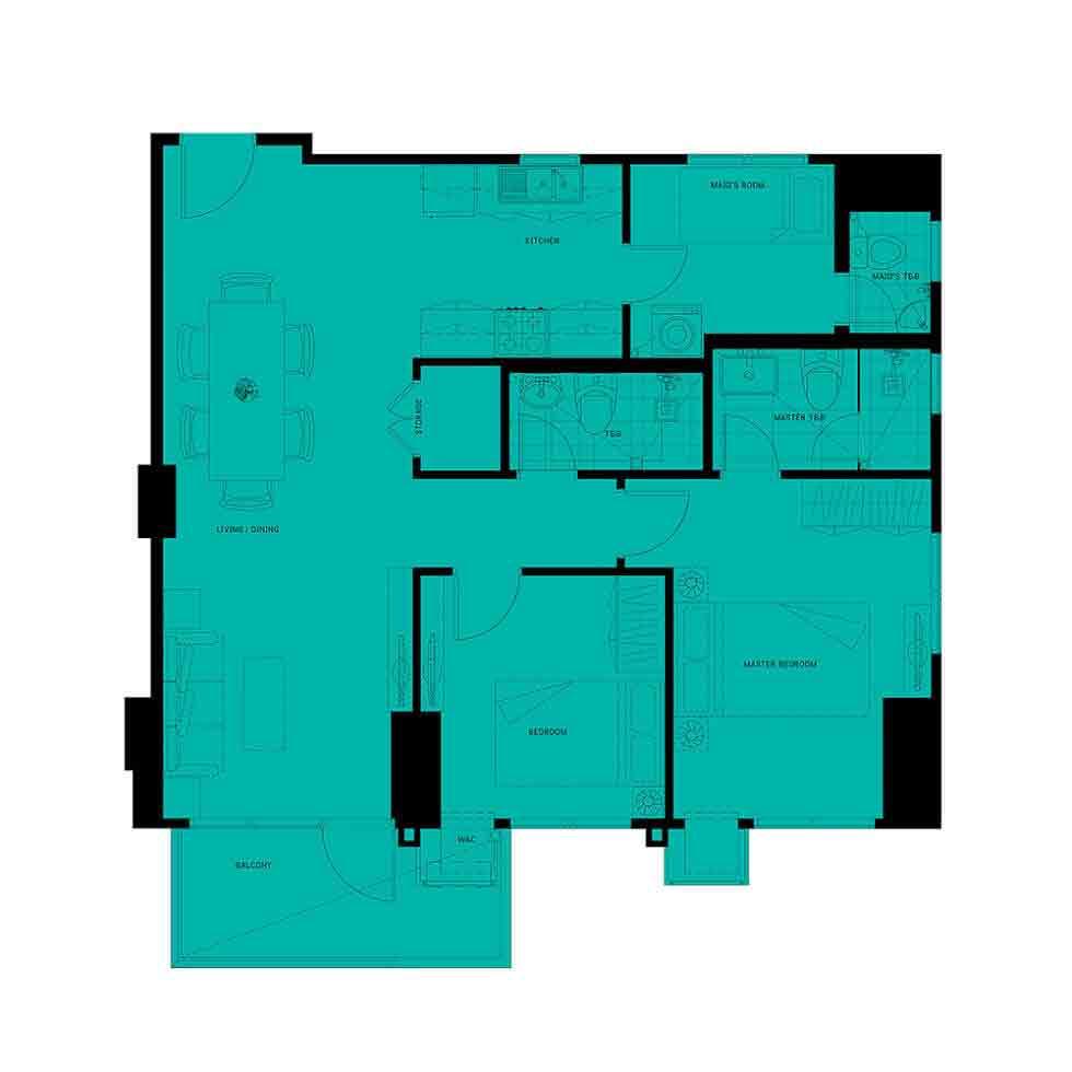 Patio Suites Abreeza - 2 Bedroom Unit