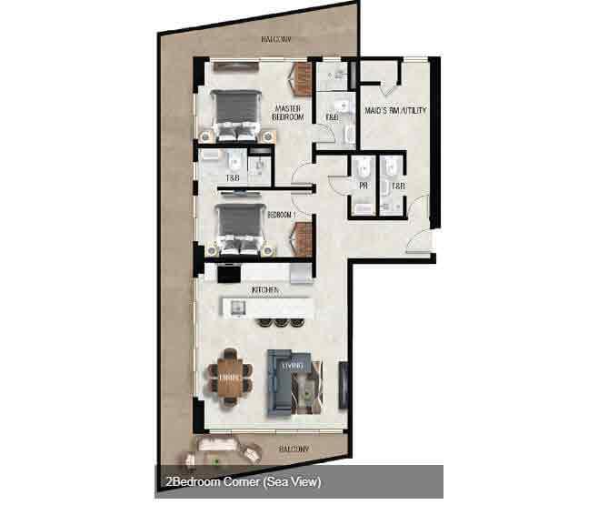 Air Residences - 2 Bedroom Corner - Sea View
