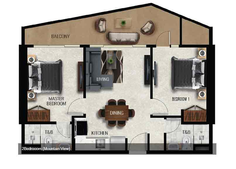 Air Residences - 2 Bedroom - Mountain View
