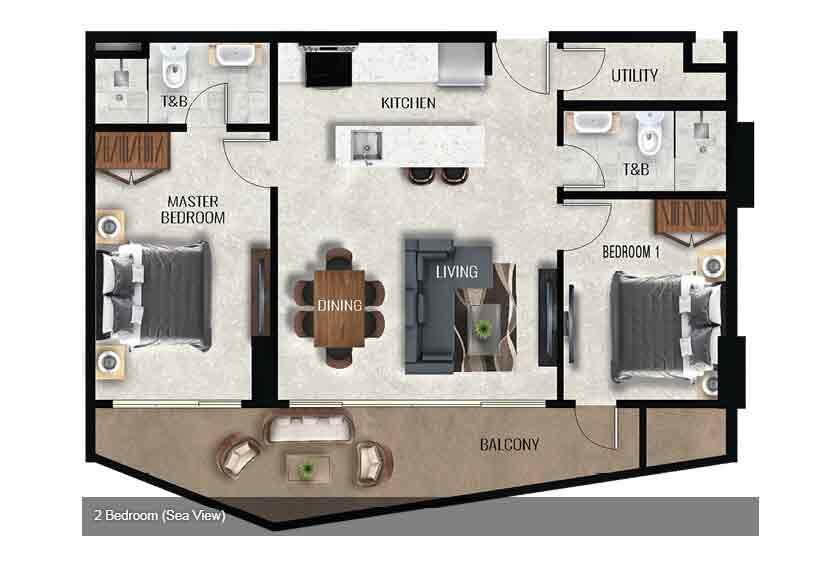 Air Residences - 2 Bedroom - Sea View
