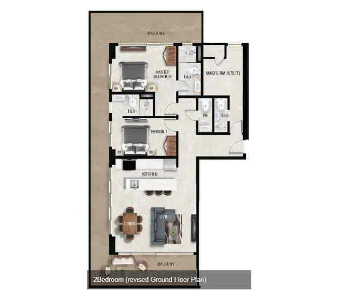 Air Residences - 2 Bedroom Unit - Ground Floor